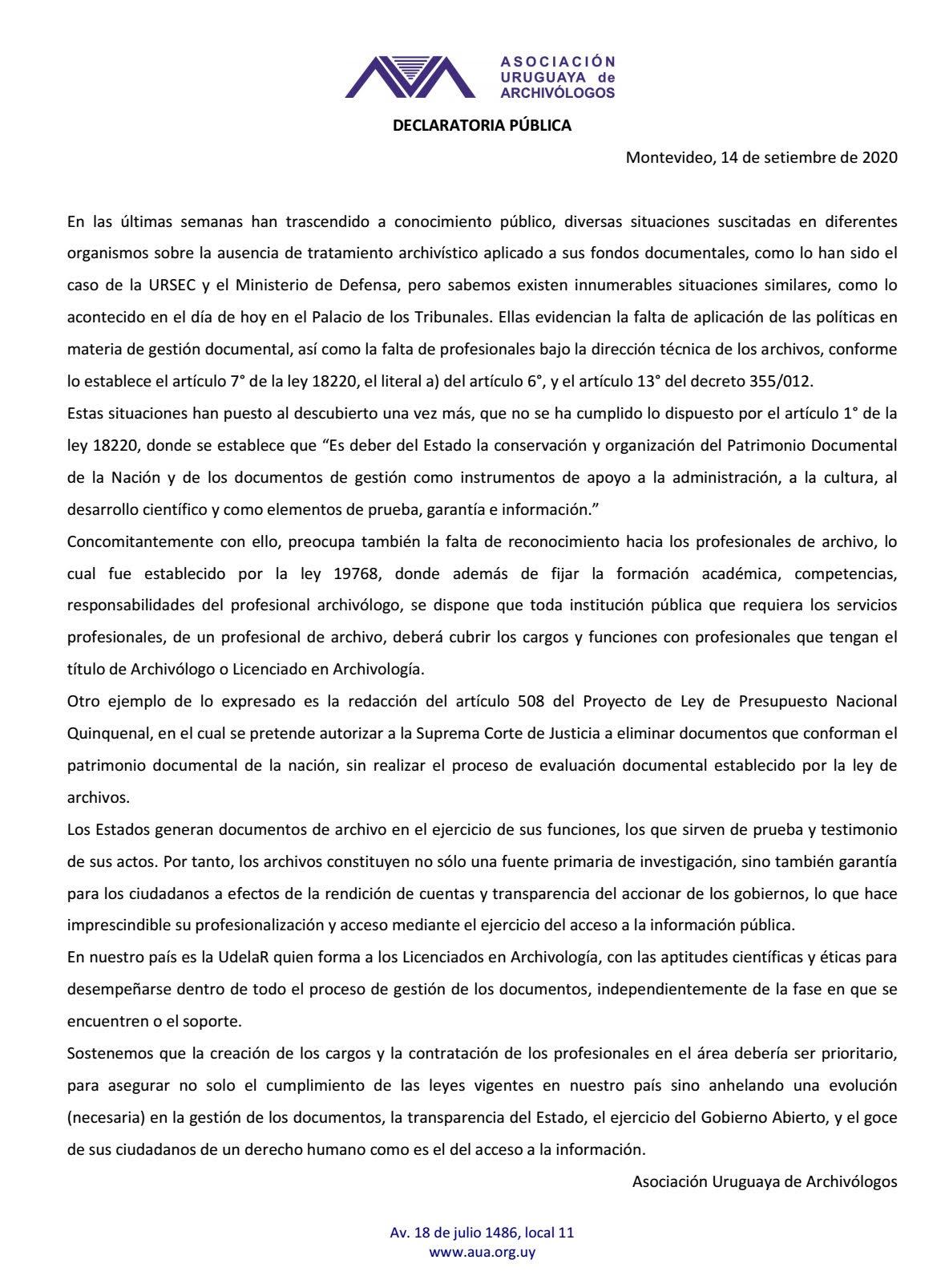 imagen de Declaración AUA